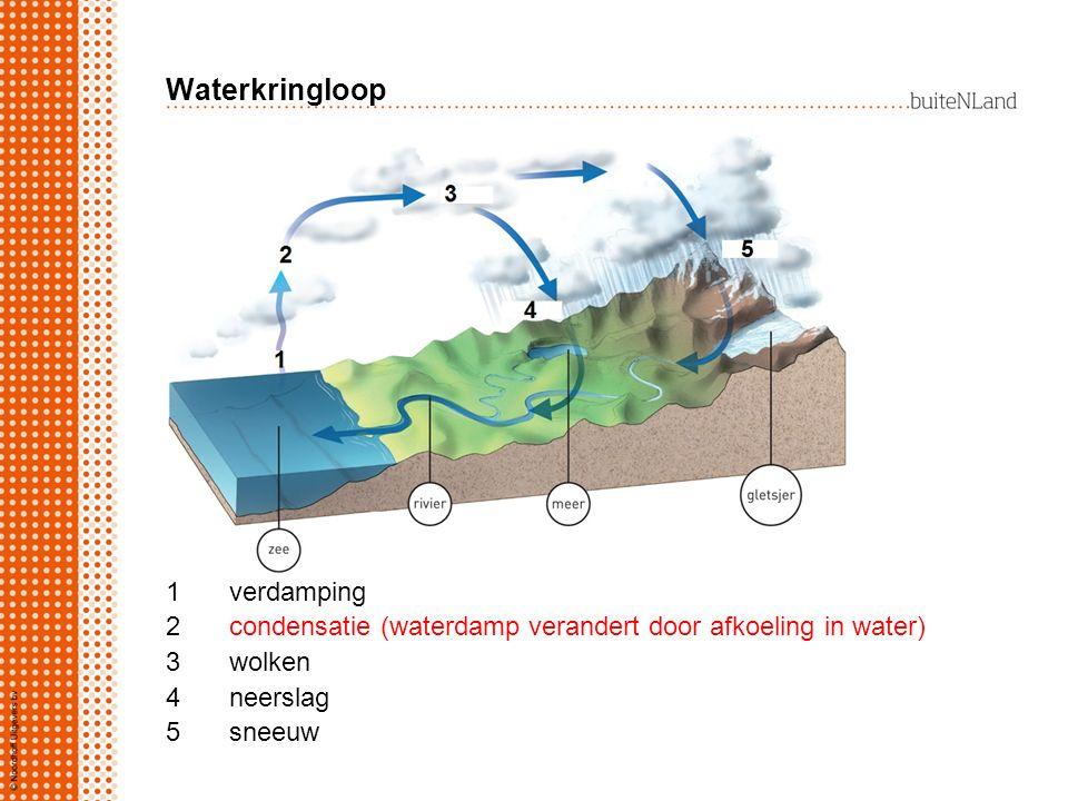 Waterkringloop 1234512345 verdamping condensatie (waterdamp verandert door afkoeling in water) wolken neerslag sneeuw