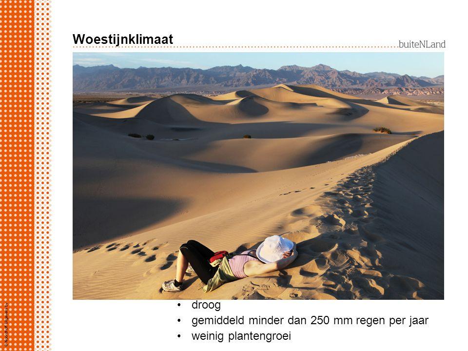 Woestijnklimaat woestijnklimaat rond 30 o breedte droog gemiddeld minder dan 250 mm regen per jaar weinig plantengroei