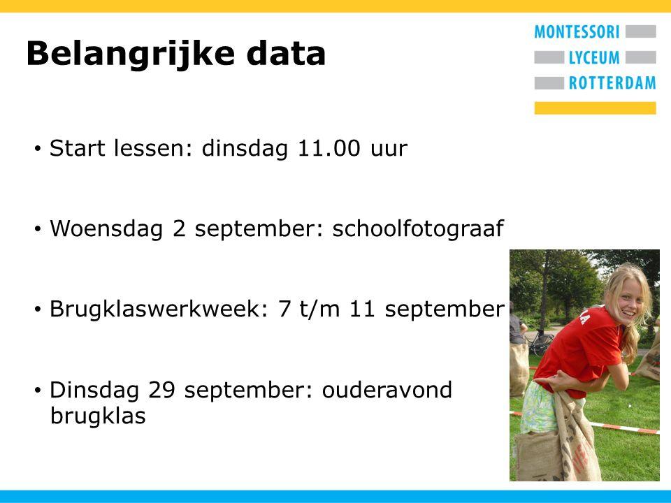Belangrijke data Start lessen: dinsdag 11.00 uur Woensdag 2 september: schoolfotograaf Brugklaswerkweek: 7 t/m 11 september Dinsdag 29 september: ouderavond brugklas