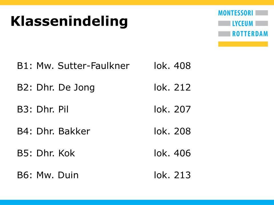 Klassenindeling B1: Mw. Sutter-Faulknerlok. 408 B2: Dhr. De Jonglok. 212 B3: Dhr. Pillok. 207 B4: Dhr. Bakkerlok. 208 B5: Dhr. Koklok. 406 B6: Mw. Dui
