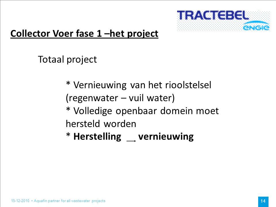 15-12-2010 Aquafin partner for all wastewater projects 14 Collector Voer fase 1 –het project Totaal project * Vernieuwing van het rioolstelsel (regenwater – vuil water) * Volledige openbaar domein moet hersteld worden * Herstelling ͢ vernieuwing