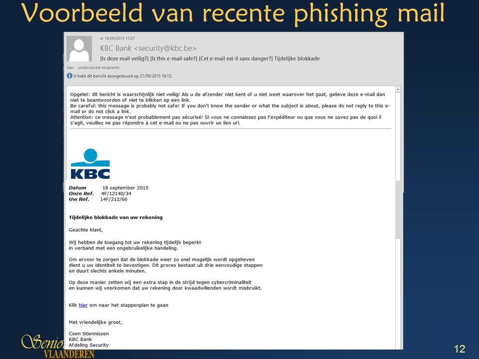 12 Voorbeeld van recente phishing mail