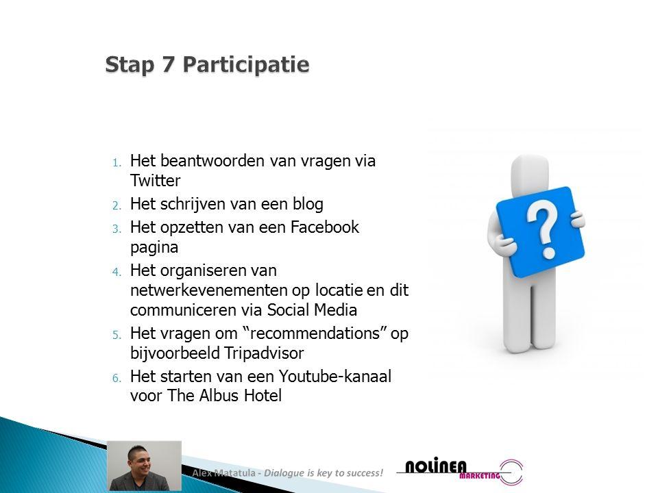 1. Het beantwoorden van vragen via Twitter 2. Het schrijven van een blog 3.