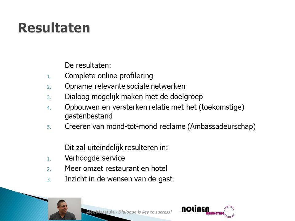 De resultaten: 1. Complete online profilering 2. Opname relevante sociale netwerken 3.