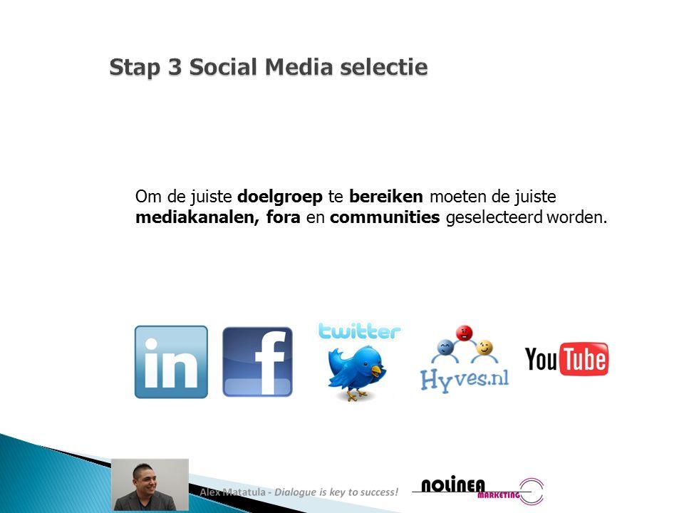 Om de juiste doelgroep te bereiken moeten de juiste mediakanalen, fora en communities geselecteerd worden.