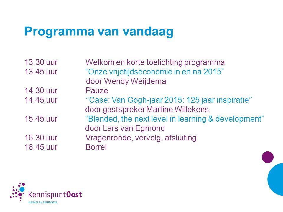 'Onze vrijetijdseconomie in 2015 en erna' Wendy Weijdema Marketingmanager MarketingOost