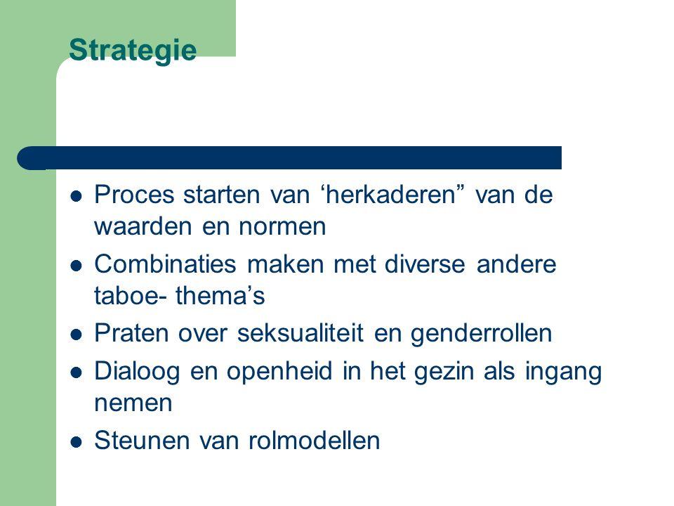 """Strategie Proces starten van 'herkaderen"""" van de waarden en normen Combinaties maken met diverse andere taboe- thema's Praten over seksualiteit en gen"""