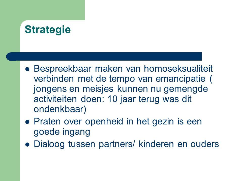Strategie Bespreekbaar maken van homoseksualiteit verbinden met de tempo van emancipatie ( jongens en meisjes kunnen nu gemengde activiteiten doen: 10