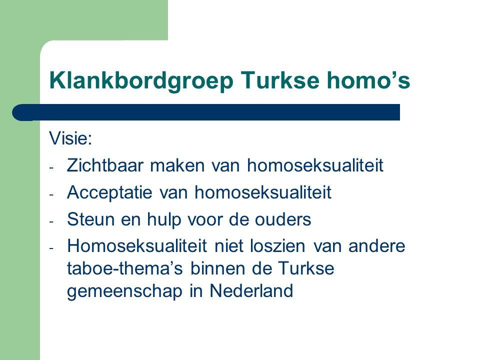 Klankbordgroep Turkse homo's Visie: - Zichtbaar maken van homoseksualiteit - Acceptatie van homoseksualiteit - Steun en hulp voor de ouders - Homoseks