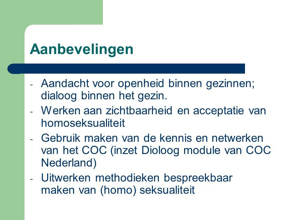 Aanbevelingen - Aandacht voor openheid binnen gezinnen; dialoog binnen het gezin. - Werken aan zichtbaarheid en acceptatie van homoseksualiteit - Gebr