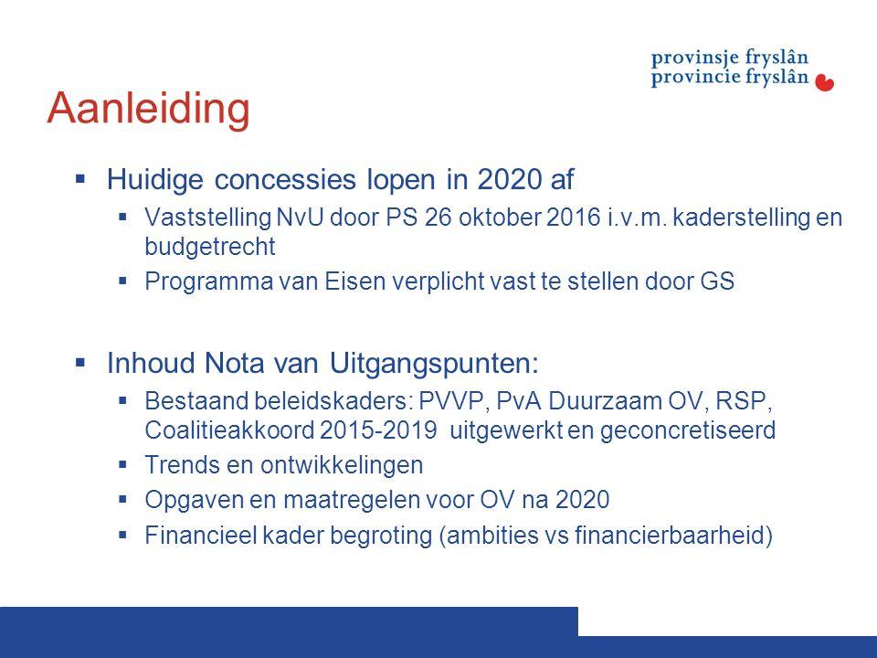 Aanleiding  Huidige concessies lopen in 2020 af  Vaststelling NvU door PS 26 oktober 2016 i.v.m.
