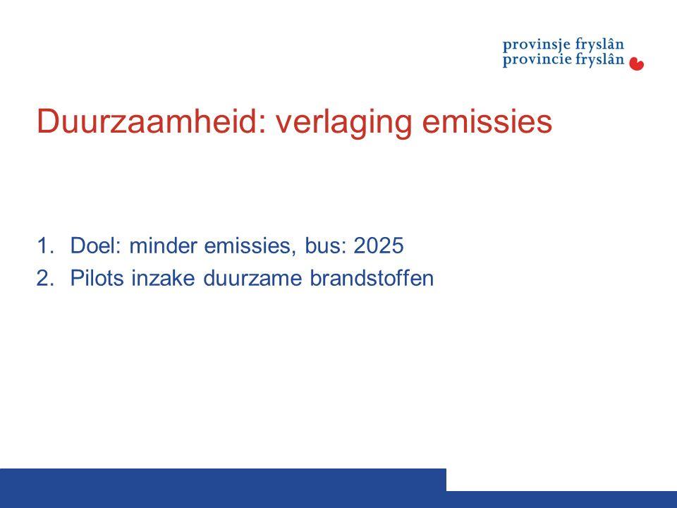 Duurzaamheid: verlaging emissies 1.Doel: minder emissies, bus: 2025 2.Pilots inzake duurzame brandstoffen