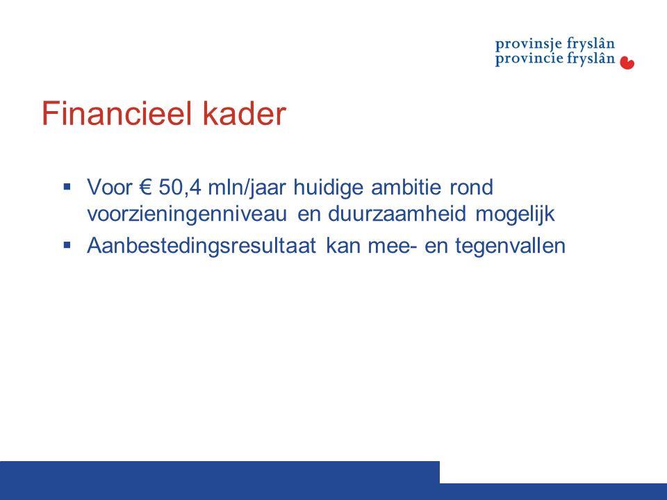 Financieel kader  Voor € 50,4 mln/jaar huidige ambitie rond voorzieningenniveau en duurzaamheid mogelijk  Aanbestedingsresultaat kan mee- en tegenvallen