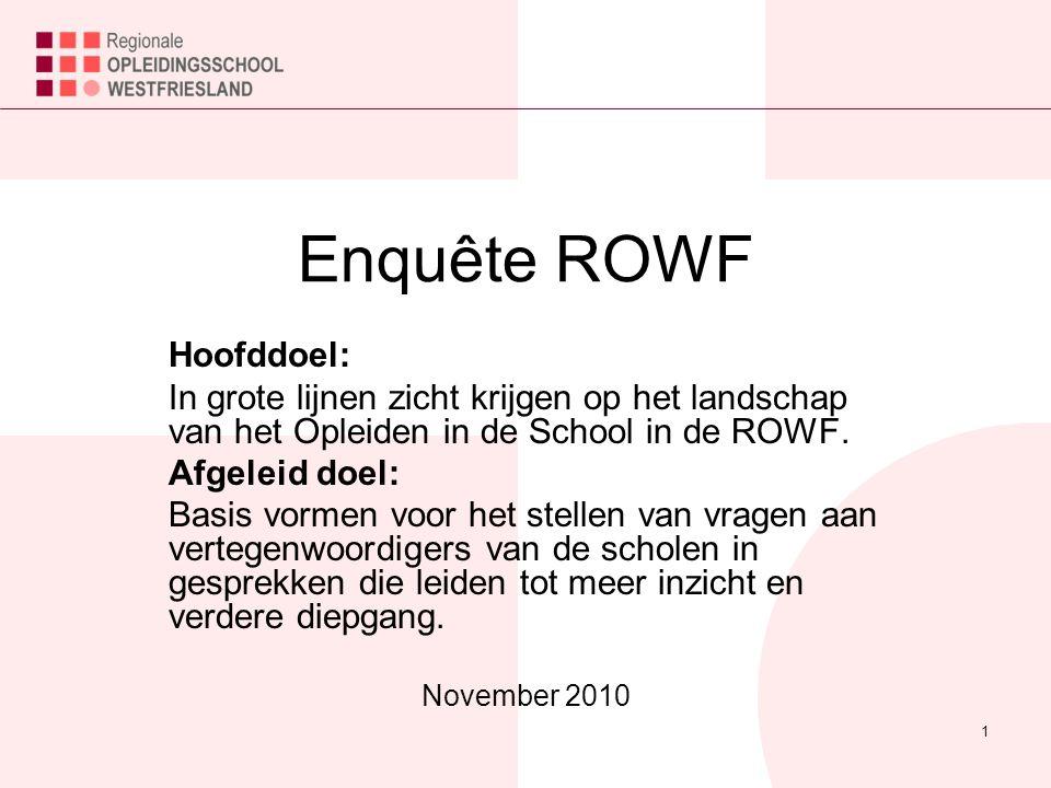 1 Enquête ROWF Hoofddoel: In grote lijnen zicht krijgen op het landschap van het Opleiden in de School in de ROWF.