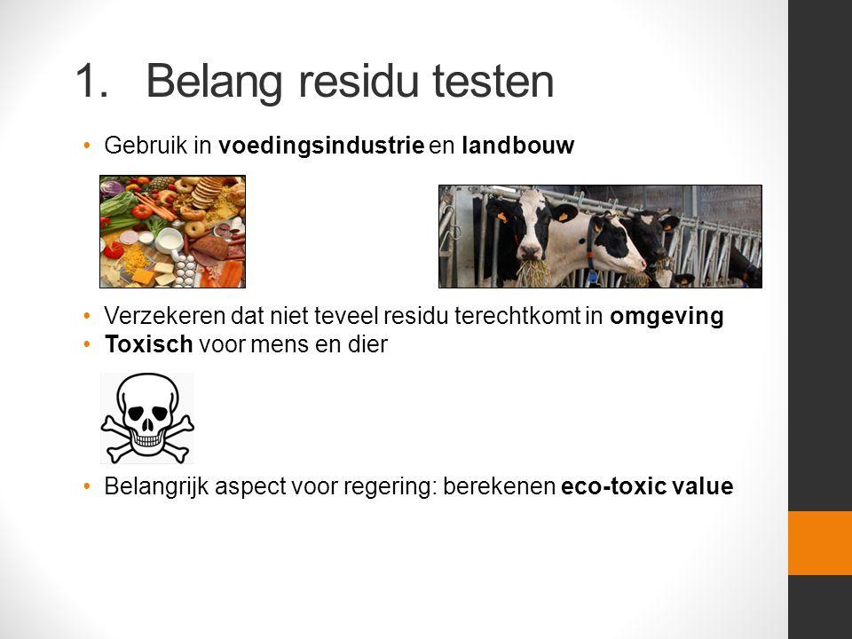 1. Belang residu testen Gebruik in voedingsindustrie en landbouw Verzekeren dat niet teveel residu terechtkomt in omgeving Toxisch voor mens en dier B