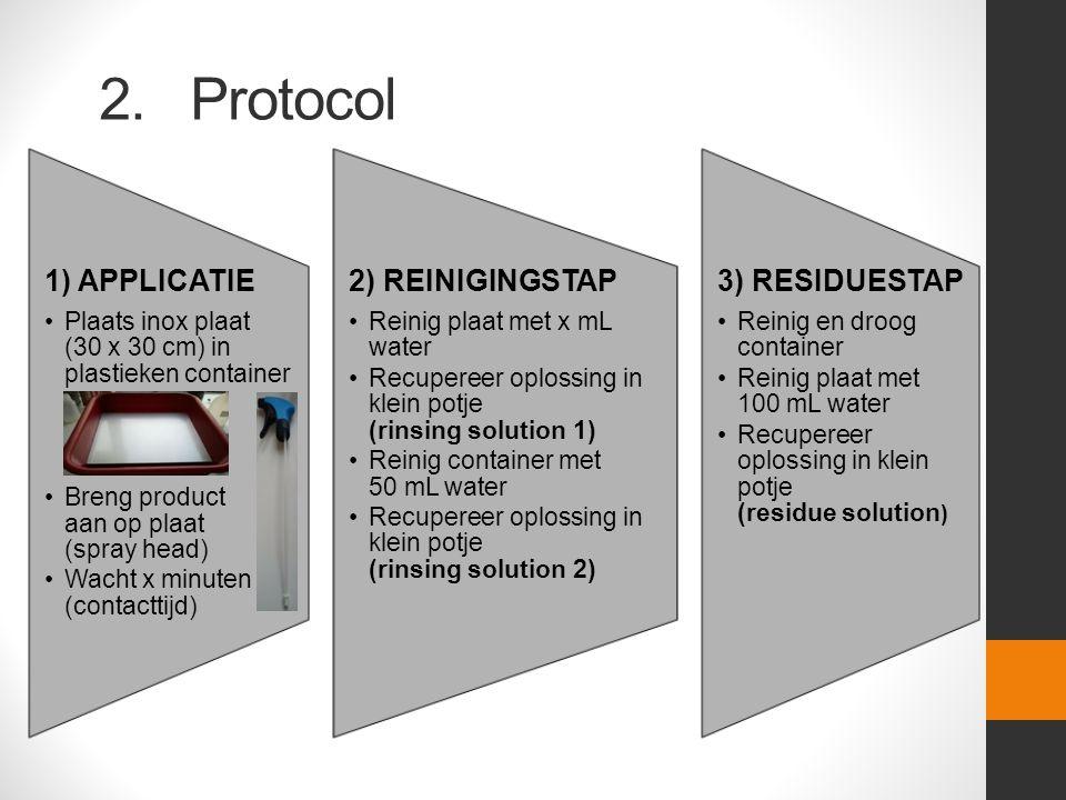 2. Protocol 1) APPLICATIE Plaats inox plaat (30 x 30 cm) in plastieken container Breng product aan op plaat (spray head) Wacht x minuten (contacttijd)