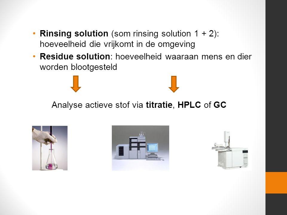 Rinsing solution (som rinsing solution 1 + 2): hoeveelheid die vrijkomt in de omgeving Residue solution: hoeveelheid waaraan mens en dier worden blootgesteld Analyse actieve stof via titratie, HPLC of GC