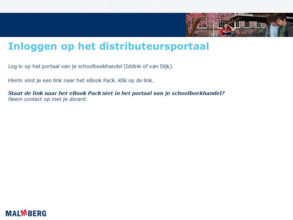 Inloggen op het distributeursportaal Log in op het portaal van je schoolboekhandel (Iddink of van Dijk).
