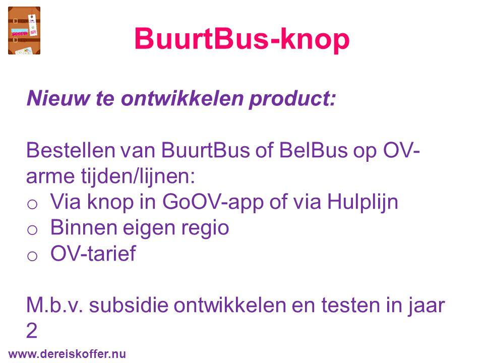 BuurtBus-knop Nieuw te ontwikkelen product: Bestellen van BuurtBus of BelBus op OV- arme tijden/lijnen: o Via knop in GoOV-app of via Hulplijn o Binnen eigen regio o OV-tarief M.b.v.