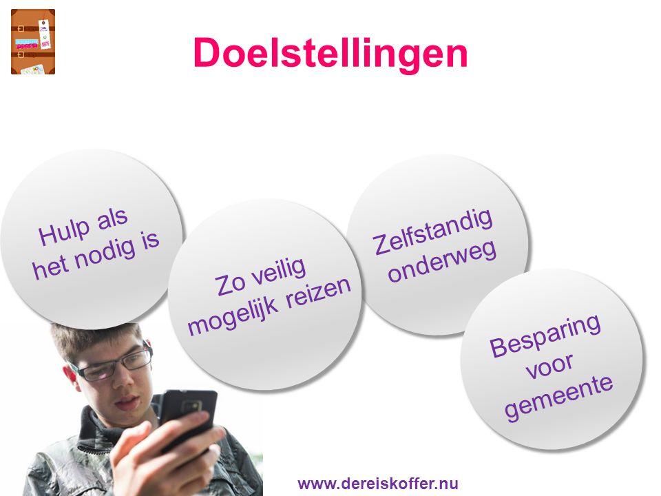 Doelstellingen Zelfstandig onderweg Hulp als het nodig is Zo veilig mogelijk reizen Besparing voor gemeente www.dereiskoffer.nu