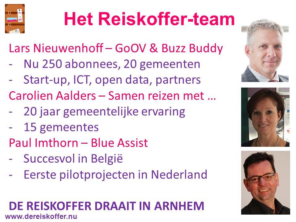 Het Reiskoffer-team Lars Nieuwenhoff – GoOV & Buzz Buddy -Nu 250 abonnees, 20 gemeenten -Start-up, ICT, open data, partners Carolien Aalders – Samen reizen met … -20 jaar gemeentelijke ervaring -15 gemeentes Paul Imthorn – Blue Assist -Succesvol in België -Eerste pilotprojecten in Nederland DE REISKOFFER DRAAIT IN ARNHEM www.dereiskoffer.nu
