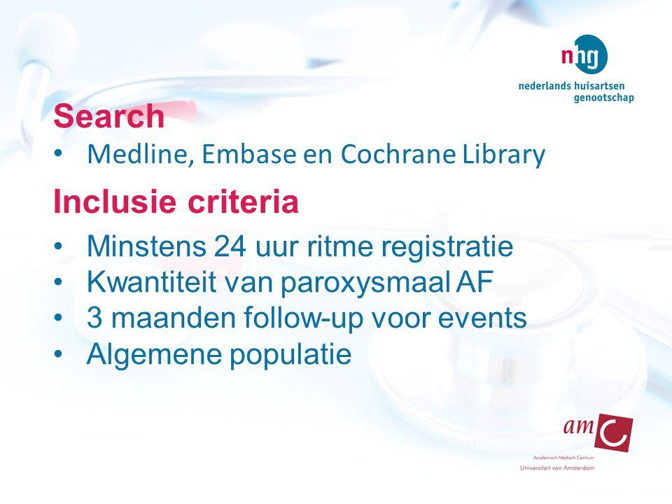 Search Medline, Embase en Cochrane Library Inclusie criteria Minstens 24 uur ritme registratie Kwantiteit van paroxysmaal AF 3 maanden follow-up voor events Algemene populatie