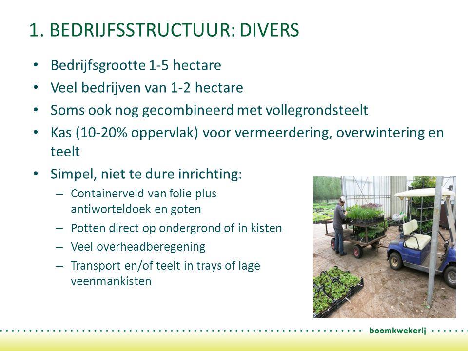 1. BEDRIJFSSTRUCTUUR: DIVERS Bedrijfsgrootte 1-5 hectare Veel bedrijven van 1-2 hectare Soms ook nog gecombineerd met vollegrondsteelt Kas (10-20% opp