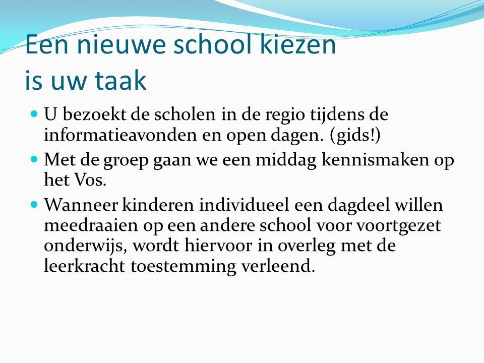 Een nieuwe school kiezen is uw taak U bezoekt de scholen in de regio tijdens de informatieavonden en open dagen.