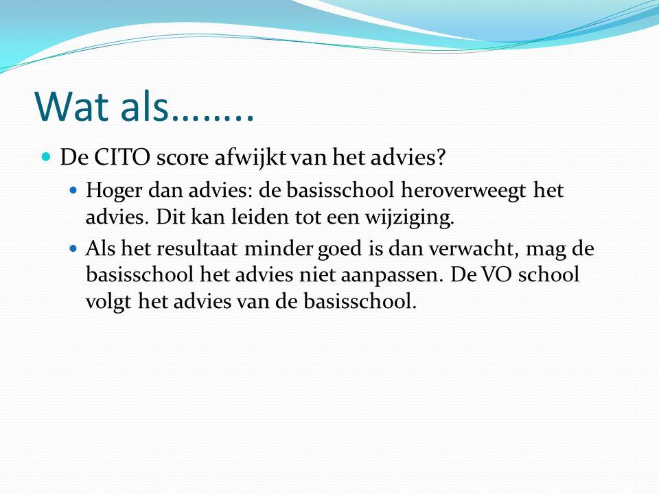 Wat als…….. De CITO score afwijkt van het advies.