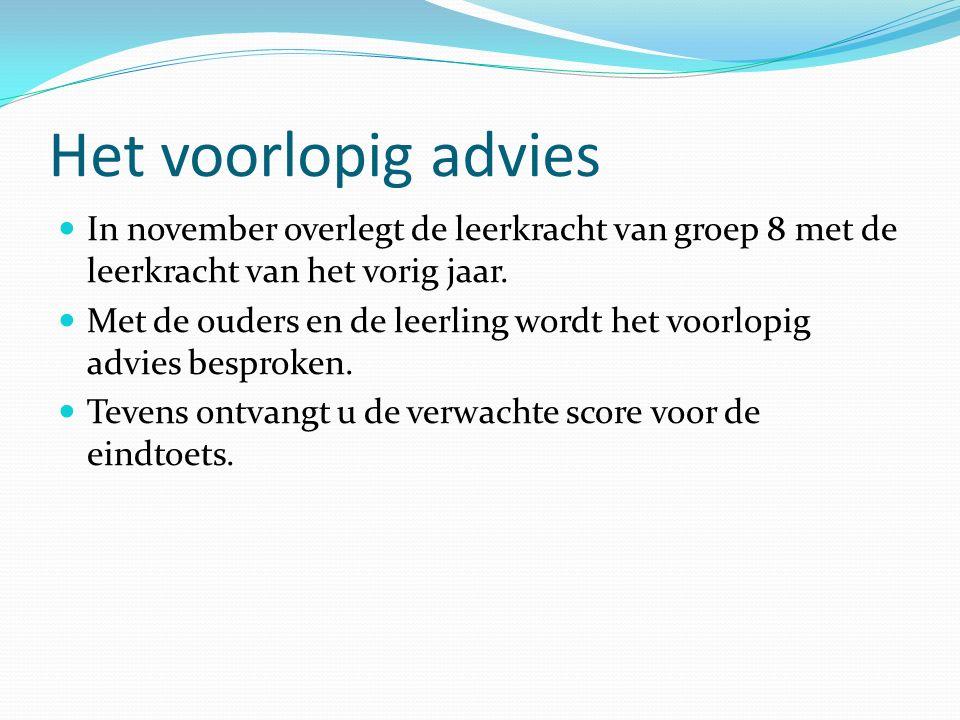 Het voorlopig advies In november overlegt de leerkracht van groep 8 met de leerkracht van het vorig jaar.