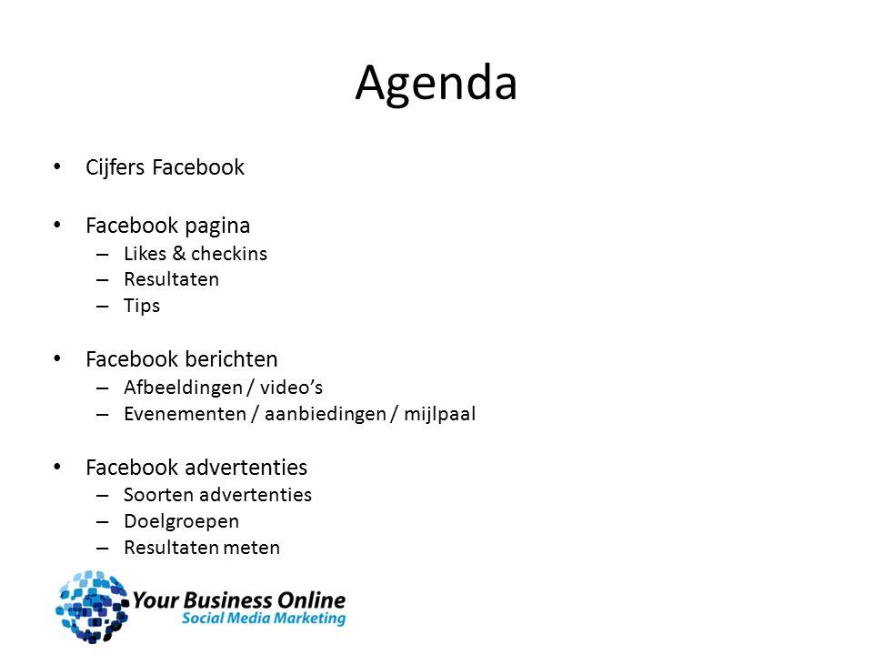 Agenda Cijfers Facebook Facebook pagina – Likes & checkins – Resultaten – Tips Facebook berichten – Afbeeldingen / video's – Evenementen / aanbiedingen / mijlpaal Facebook advertenties – Soorten advertenties – Doelgroepen – Resultaten meten