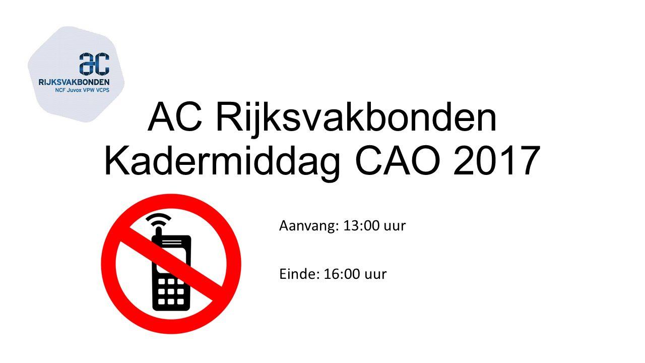 AC Rijksvakbonden Kadermiddag CAO 2017 Aanvang: 13:00 uur Einde: 16:00 uur