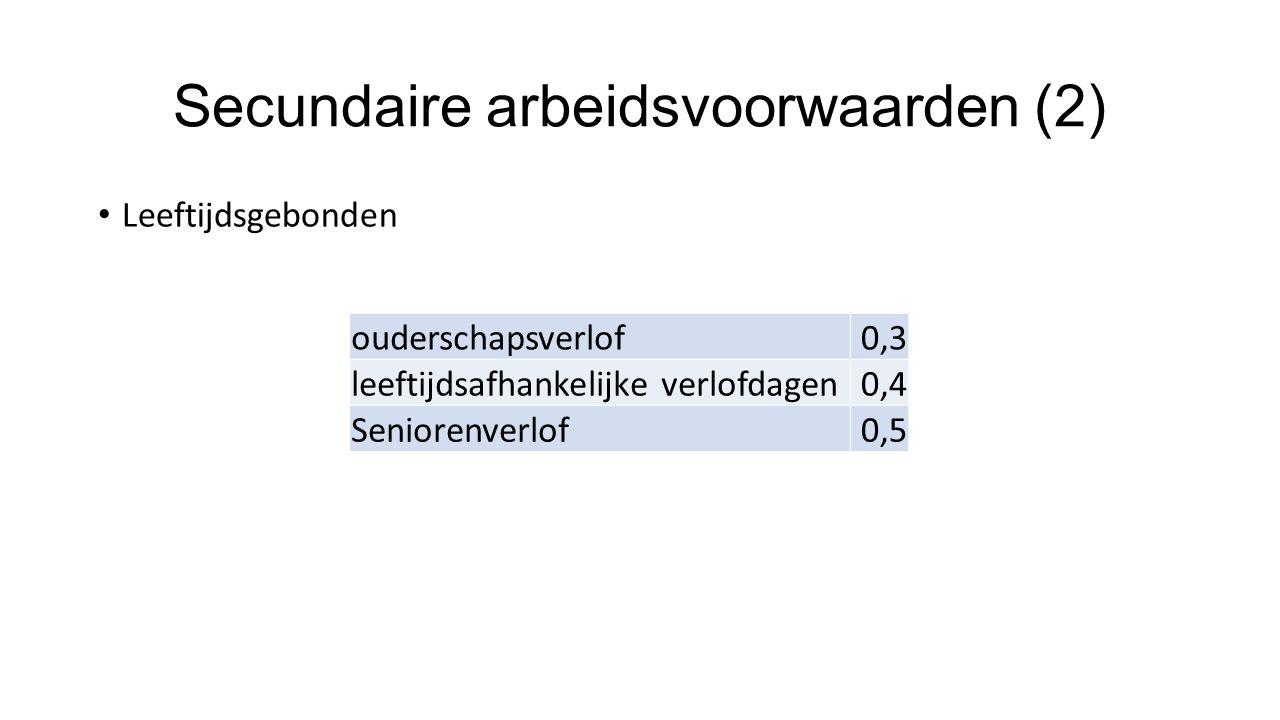 Secundaire arbeidsvoorwaarden (2) Leeftijdsgebonden ouderschapsverlof0,3 leeftijdsafhankelijke verlofdagen0,4 Seniorenverlof0,5