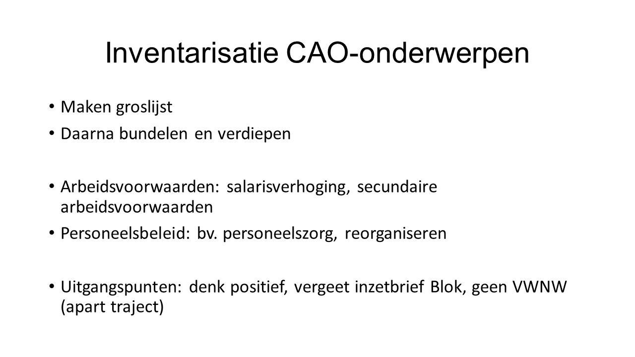 Inventarisatie CAO-onderwerpen Maken groslijst Daarna bundelen en verdiepen Arbeidsvoorwaarden: salarisverhoging, secundaire arbeidsvoorwaarden Personeelsbeleid: bv.