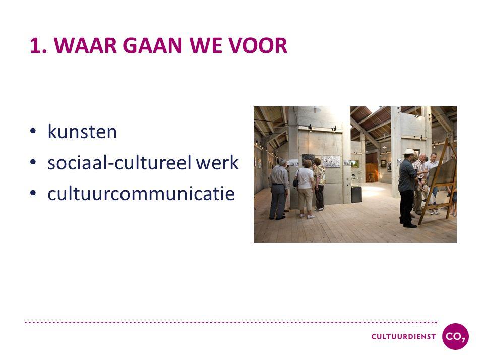 ………………………………………..……………….…………………………....... 1. WAAR GAAN WE VOOR kunsten sociaal-cultureel werk cultuurcommunicatie
