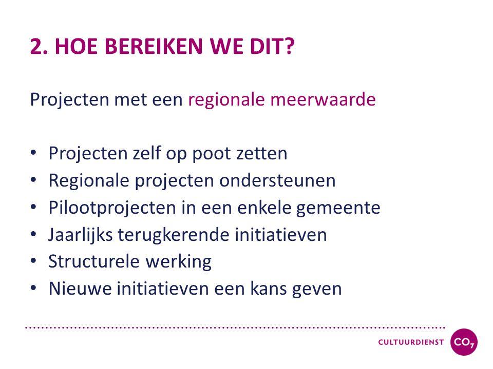 ………………………………………..……………….…………………………....... 2. HOE BEREIKEN WE DIT? Projecten met een regionale meerwaarde Projecten zelf op poot zetten Regionale proje