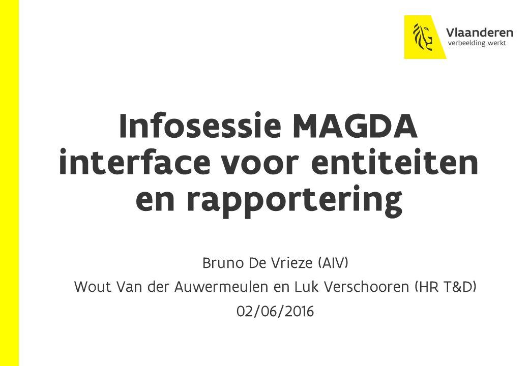 Infosessie MAGDA interface voor entiteiten en rapportering Bruno De Vrieze (AIV) Wout Van der Auwermeulen en Luk Verschooren (HR T&D) 02/06/2016