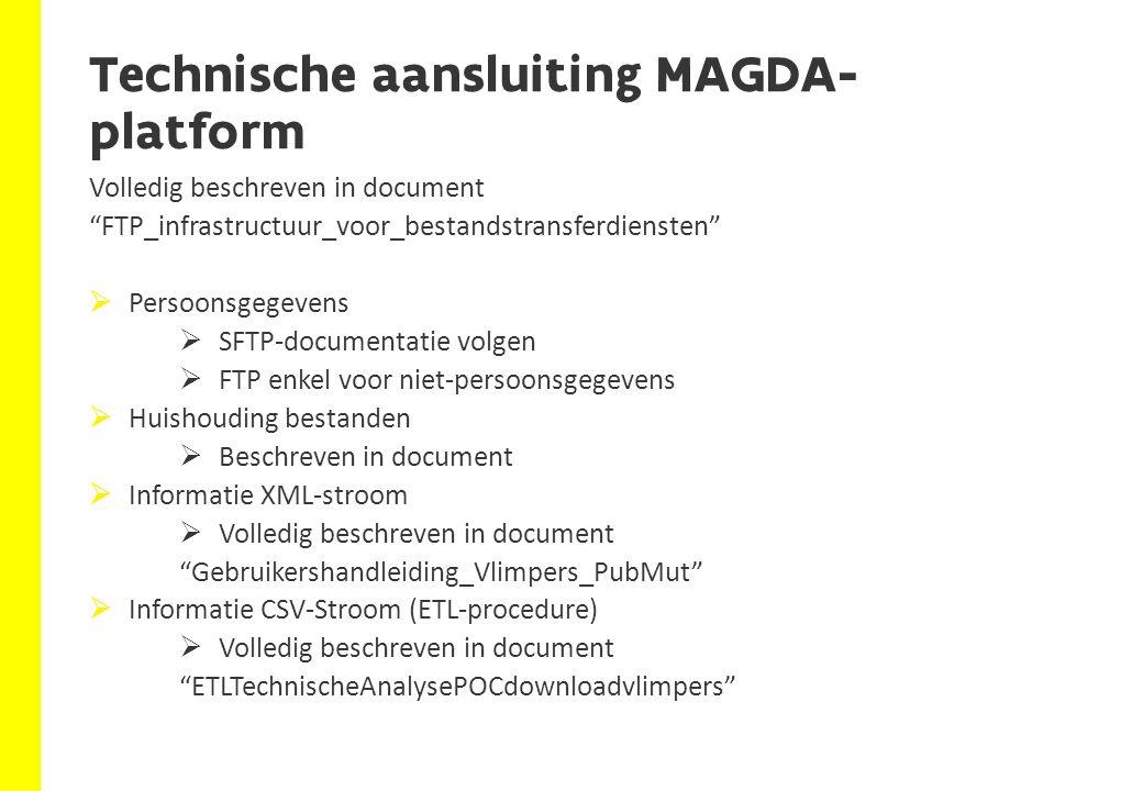 """Technische aansluiting MAGDA- platform Volledig beschreven in document """"FTP_infrastructuur_voor_bestandstransferdiensten""""  Persoonsgegevens  SFTP-do"""