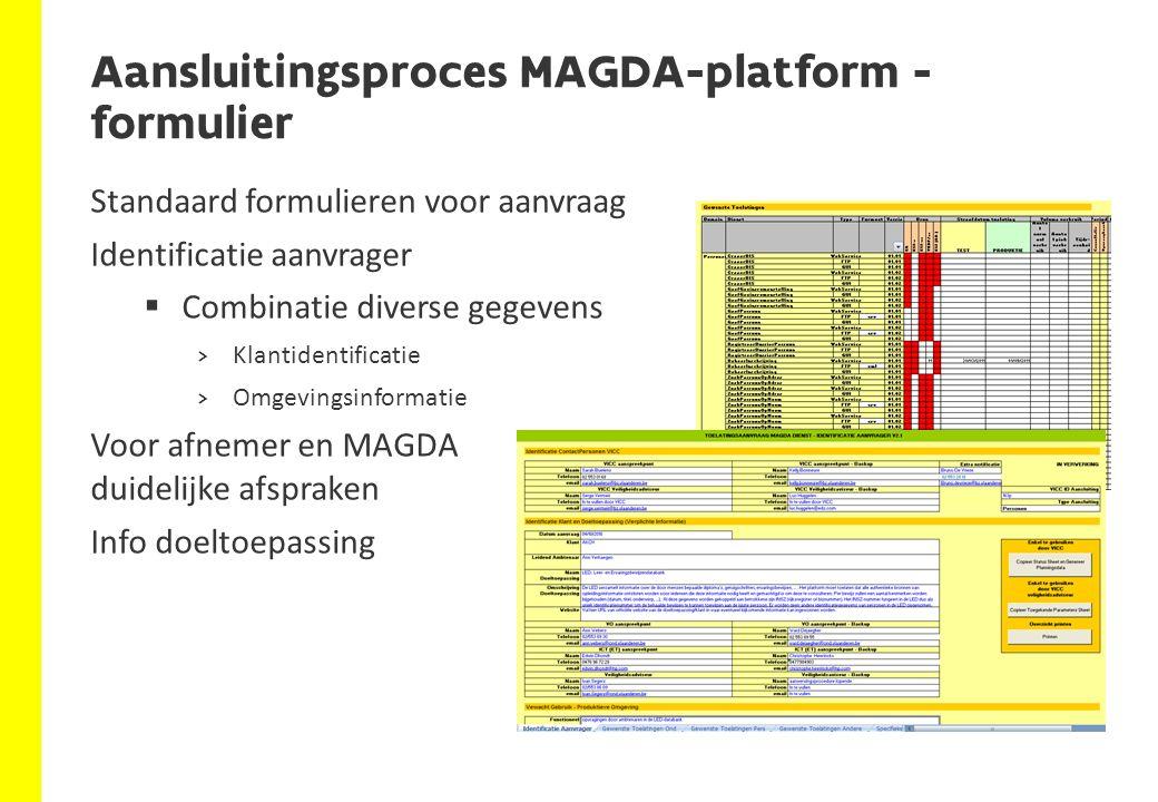 Aansluitingsproces MAGDA-platform - formulier Standaard formulieren voor aanvraag Identificatie aanvrager  Combinatie diverse gegevens >Klantidentifi