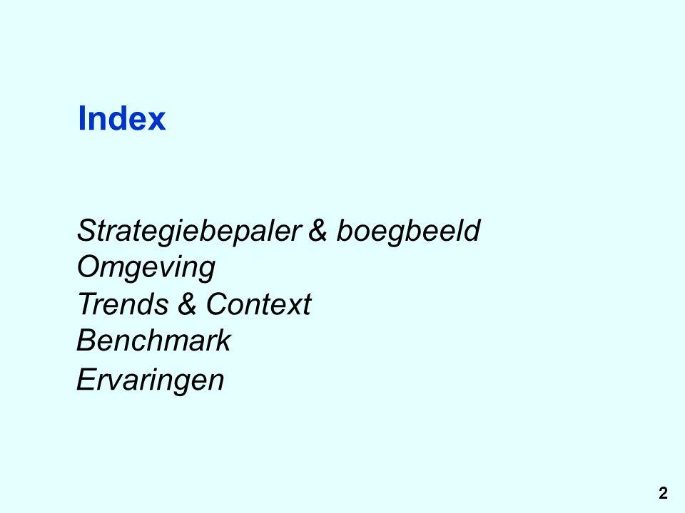 Index Strategiebepaler & boegbeeld Omgeving Trends & Context Benchmark Ervaringen 2