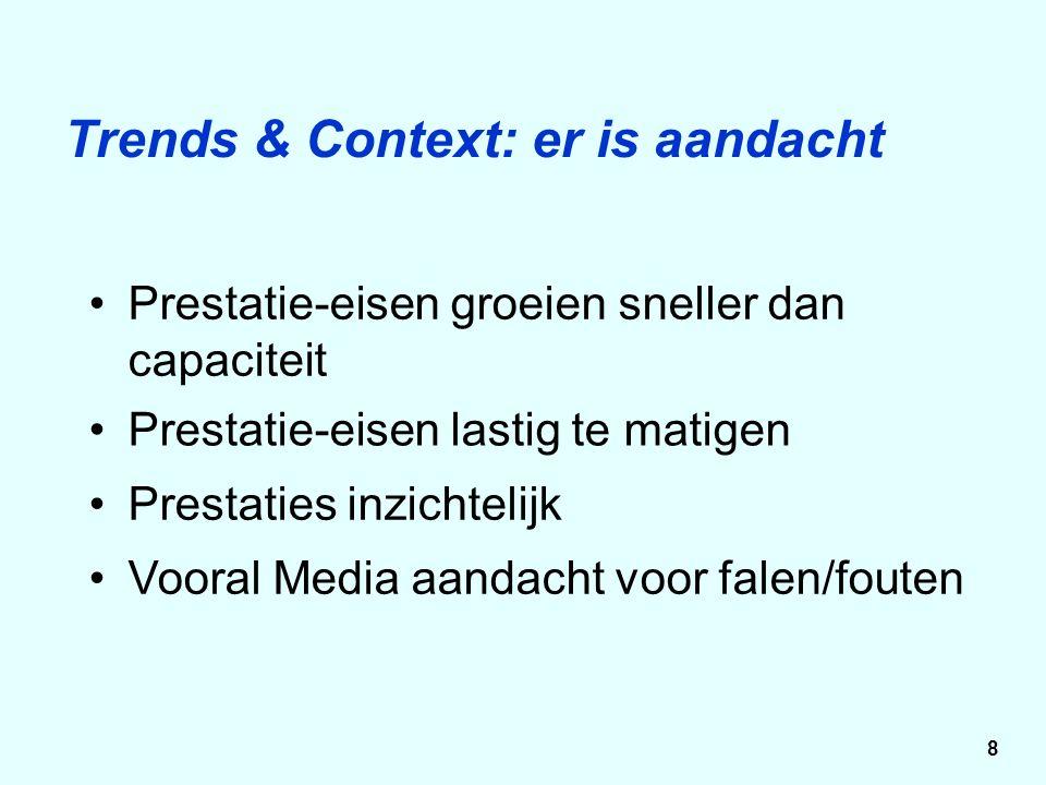 Trends & Context: er is aandacht Prestatie-eisen groeien sneller dan capaciteit Prestatie-eisen lastig te matigen Prestaties inzichtelijk Vooral Media aandacht voor falen/fouten 8