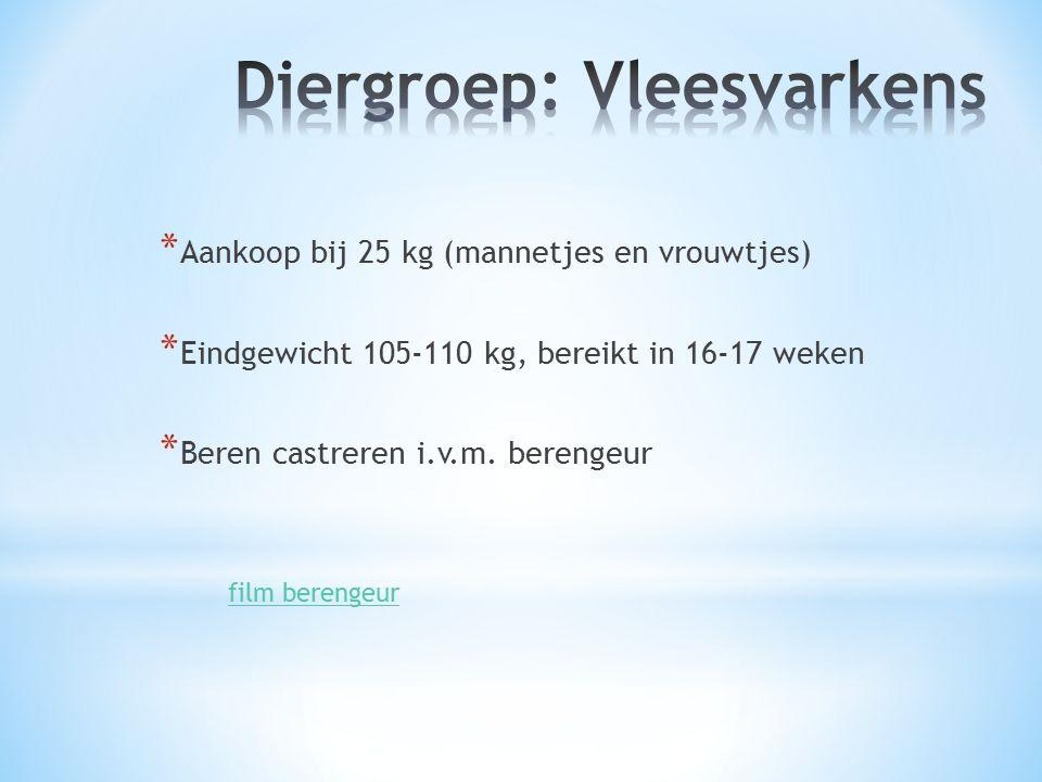* Aankoop bij 25 kg (mannetjes en vrouwtjes) * Eindgewicht 105-110 kg, bereikt in 16-17 weken * Beren castreren i.v.m.