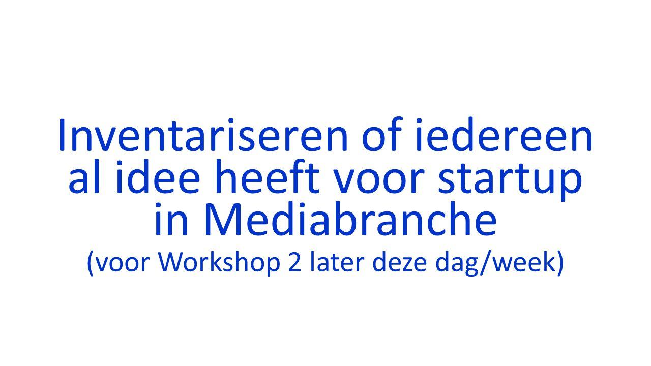Inventariseren of iedereen al idee heeft voor startup in Mediabranche (voor Workshop 2 later deze dag/week)