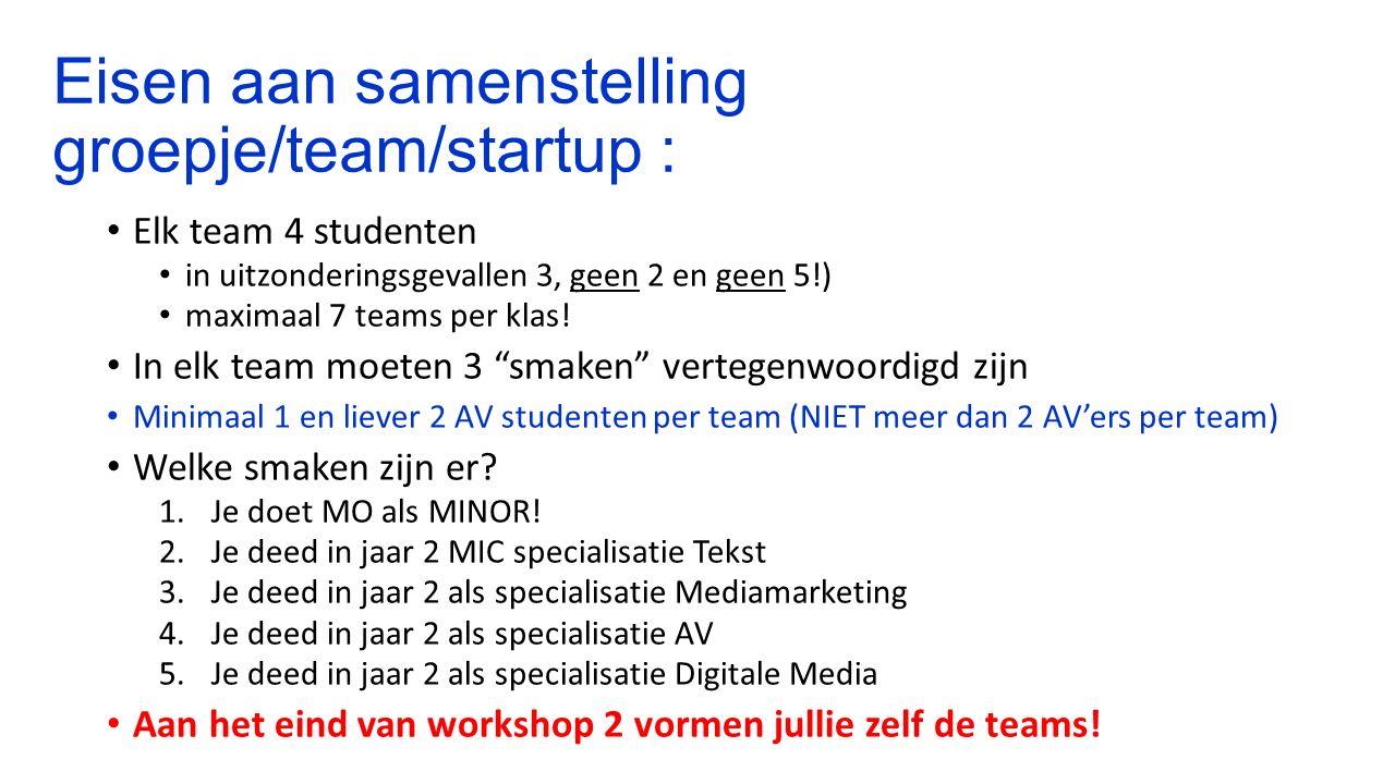 Eisen aan samenstelling groepje/team/startup : Elk team 4 studenten in uitzonderingsgevallen 3, geen 2 en geen 5!) maximaal 7 teams per klas.