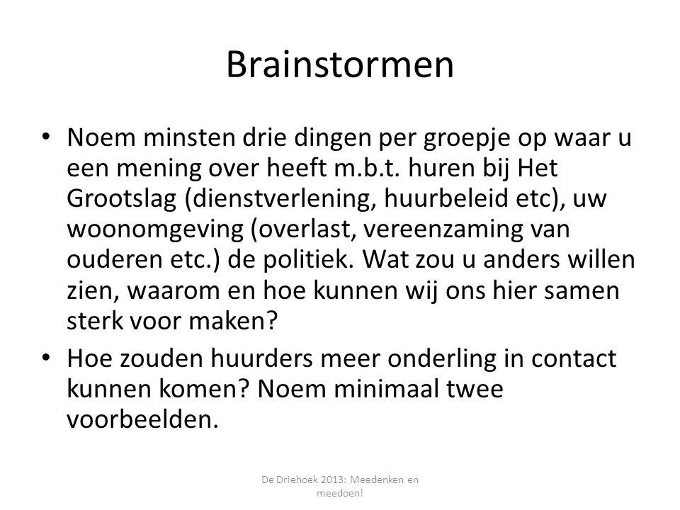 Brainstormen Noem minsten drie dingen per groepje op waar u een mening over heeft m.b.t.