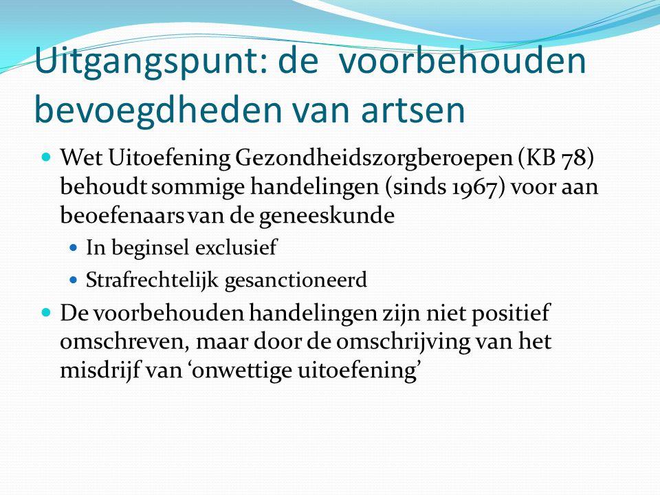 Uitgangspunt: de voorbehouden bevoegdheden van artsen Wet Uitoefening Gezondheidszorgberoepen (KB 78) behoudt sommige handelingen (sinds 1967) voor aa