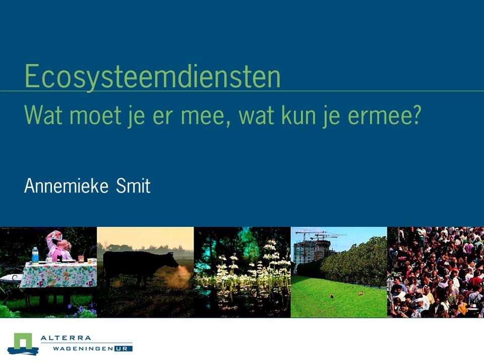 Ecosysteemdiensten Wat moet je er mee, wat kun je ermee Annemieke Smit