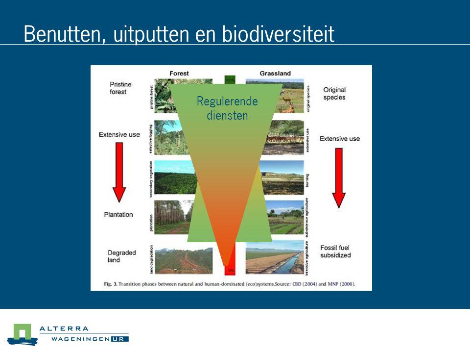 Benutten, uitputten en biodiversiteit producti e Regulerende diensten