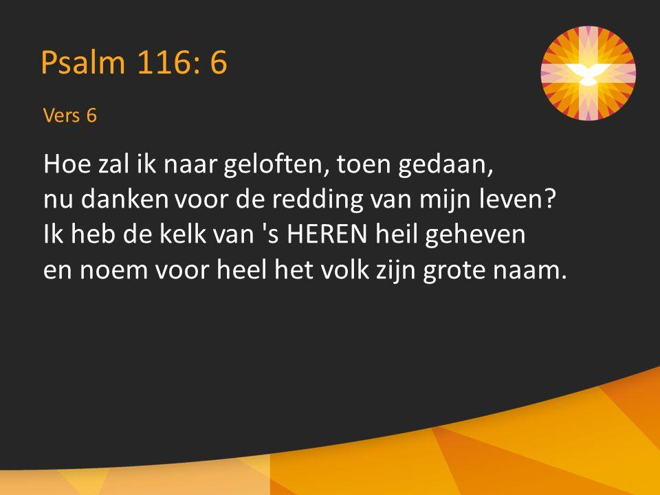 Vers 6 Psalm 116: 6 Hoe zal ik naar geloften, toen gedaan, nu danken voor de redding van mijn leven.