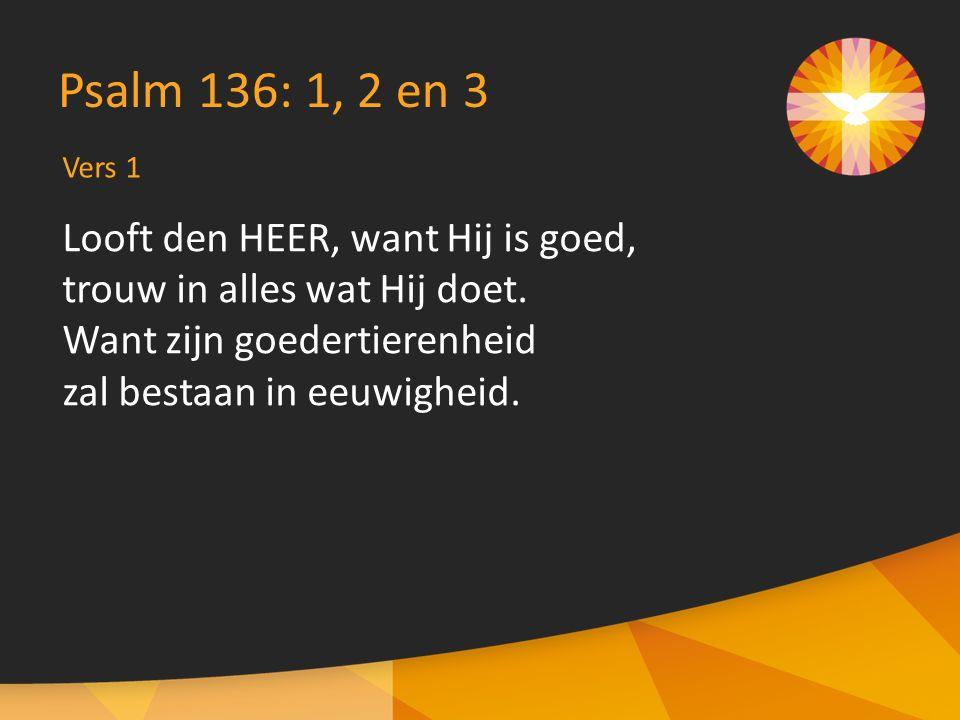 Vers 1 Psalm 136: 1, 2 en 3 Looft den HEER, want Hij is goed, trouw in alles wat Hij doet.